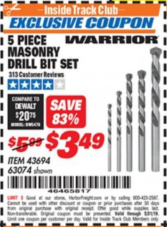 Harbor Freight ITC Coupon 5 PIECE MASONRY DRILL BIT SET Lot No. 63074/43694 Dates Valid: 5/3/19 - 5/31/19 - $3.49