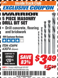 Harbor Freight ITC Coupon 5 PIECE MASONRY DRILL BIT SET Lot No. 63074/43694 Expired: 3/31/20 - $3.49