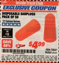 Harbor Freight ITC Coupon DISPOSABLE EAR PLUGS PACK OF 50 Lot No. 96365 Expired: 7/31/19 - $4.99