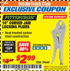 "Harbor Freight ITC Coupon 10"" CURVED JAW LOCKING PLIERS Lot No. 39640 Expired: 2/29/20 - $2.99"