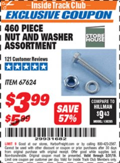 Harbor Freight ITC Coupon 460 PIECE NUT AND WASHER ASSORTMENT Lot No. 67624 Expired: 3/31/19 - $3.99