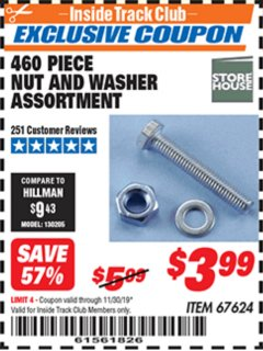 Harbor Freight ITC Coupon 460 PIECE NUT AND WASHER ASSORTMENT Lot No. 67624 Expired: 11/30/19 - $3.99