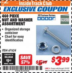 Harbor Freight ITC Coupon 460 PIECE NUT AND WASHER ASSORTMENT Lot No. 67624 Expired: 1/31/20 - $3.99