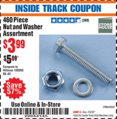 Harbor Freight ITC Coupon 460 PIECE NUT AND WASHER ASSORTMENT Lot No. 67624 Expired: 7/5/20 - $3.99