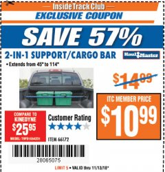 Harbor Freight ITC Coupon 2-IN-1 SUPPORT/CARGO BAR Lot No. 66172 Expired: 11/13/18 - $10.99