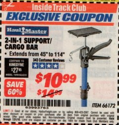Harbor Freight ITC Coupon 2-IN-1 SUPPORT/CARGO BAR Lot No. 66172 Expired: 7/31/19 - $10.99