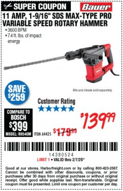 "Harbor Freight Coupon BAUER 10.5 AMP 1-9/16"" SDS MAX-TYPE PRO VARIABLE SPEED ROTARY HAMMER Lot No. 63441 Valid: 1/6/20 - 2/7/20 - $139.99"