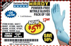 Harbor Freight Coupon 5 MIL NITRILE GLOVES 100/PK Lot No. 61363/ 68497/ 68498 Valid: 9/17/19 11/2/19 - $5.99