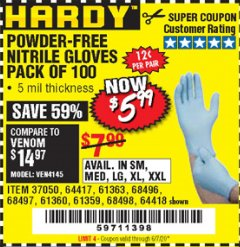 Harbor Freight Coupon 5 MIL NITRILE GLOVES 100/PK Lot No. 61363/ 68497/ 68498 EXPIRES: 6/30/20 - $5.99
