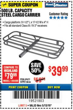 Harbor Freight Coupon STEEL CARGO CARRIER Lot No. 66983/69623 Expired: 5/13/18 - $39.99