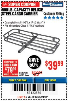 Harbor Freight Coupon STEEL CARGO CARRIER Lot No. 66983/69623 Expired: 5/20/18 - $39.99