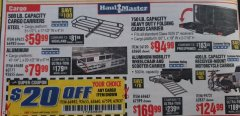Harbor Freight PERCENT Coupon STEEL CARGO CARRIER Lot No. 66983/69623 Expired: 1/31/19 - $0