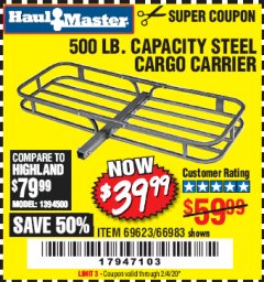 Harbor Freight Coupon STEEL CARGO CARRIER Lot No. 66983/69623 Expired: 2/4/20 - $39.99