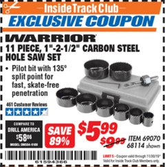 "Harbor Freight ITC Coupon 11 PIECE 1""-2-1/2"" CARBON STEEL HOLE SAW SET Lot No. 69070, 68114 Expired: 11/30/19 - $5.99"
