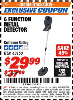 Harbor Freight ITC Coupon 6 FUNCTION METAL DETECTOR Lot No. 43150 Expired: 7/31/18 - $29.99