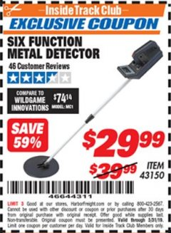 Harbor Freight ITC Coupon 6 FUNCTION METAL DETECTOR Lot No. 43150 Dates Valid: 5/3/19 - 5/31/19 - $29.99