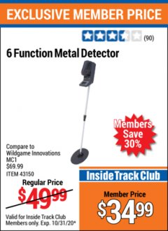Harbor Freight ITC Coupon 6 FUNCTION METAL DETECTOR Lot No. 43150 Expired: 10/31/20 - $34.99