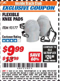 Harbor Freight ITC Coupon FLEXIBLE KNEE PADS Lot No. 93177 Expired: 5/31/18 - $9.99