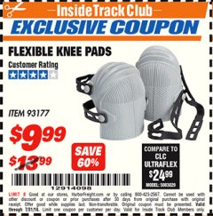 Harbor Freight ITC Coupon FLEXIBLE KNEE PADS Lot No. 93177 Expired: 7/31/18 - $9.99