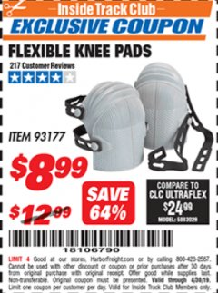 Harbor Freight ITC Coupon FLEXIBLE KNEE PADS Lot No. 93177 Expired: 4/30/19 - $8.99