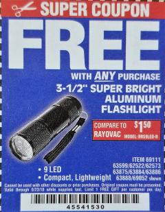 "Harbor Freight FREE Coupon 3-1/2"" SUPER BRIGHT NINE LED ALUMINUM FLASHLIGHT Lot No. 69111/63599/62522/62573/63875/63884/63886/63888/69052 Expired: 8/23/18 - FWP"