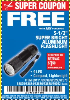 "Harbor Freight FREE Coupon 3-1/2"" SUPER BRIGHT NINE LED ALUMINUM FLASHLIGHT Lot No. 69111/63599/62522/62573/63875/63884/63886/63888/69052 Expired: 8/20/18 - FWP"