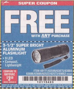 "Harbor Freight FREE Coupon 3-1/2"" SUPER BRIGHT NINE LED ALUMINUM FLASHLIGHT Lot No. 69111/63599/62522/62573/63875/63884/63886/63888/69052 Expired: 8/25/18 - FWP"