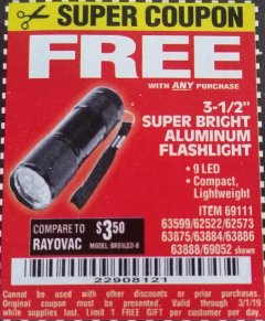 "Harbor Freight FREE Coupon 3-1/2"" SUPER BRIGHT NINE LED ALUMINUM FLASHLIGHT Lot No. 69111/63599/62522/62573/63875/63884/63886/63888/69052 Expired: 3/1/19 - FWP"