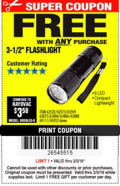 "Harbor Freight FREE Coupon 3-1/2"" SUPER BRIGHT NINE LED ALUMINUM FLASHLIGHT Lot No. 69111/63599/62522/62573/63875/63884/63886/63888/69052 Expired: 2/3/19 - FWP"