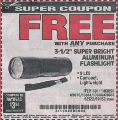 "Harbor Freight FREE Coupon 3-1/2"" SUPER BRIGHT NINE LED ALUMINUM FLASHLIGHT Lot No. 69111/63599/62522/62573/63875/63884/63886/63888/69052 Expired: 4/13/19 - FWP"