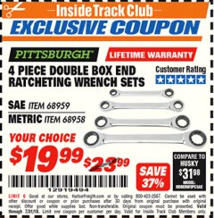 Harbor Freight ITC Coupon 4 PIECE DOUBLE BOX END RATCHETING WRENCH SETS Lot No. 68959/68958 Expired: 7/31/18 - $19.99