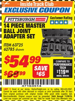 Harbor Freight ITC Coupon 14 PIECE MASTER BALL JOINT ADAPTER SET Lot No. 62785/63725/60307 Expired: 11/30/18 - $54.99