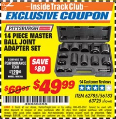 Harbor Freight ITC Coupon 14 PIECE MASTER BALL JOINT ADAPTER SET Lot No. 62785/63725/60307 Dates Valid: 5/3/19 - 5/31/19 - $49.99