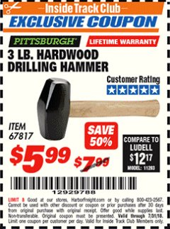 Harbor Freight ITC Coupon 3 LB. HARDWOOD DRILLING HAMMER Lot No. 61222/67817 Expired: 7/31/18 - $5.99