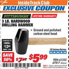 Harbor Freight ITC Coupon 3 LB. HARDWOOD DRILLING HAMMER Lot No. 61222/67817 Expired: 9/30/19 - $5.99
