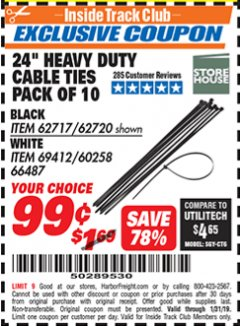 "Harbor Freight ITC Coupon 24"" HEAVY DUTY CABLE TIES PACK OF 10 Lot No. 62717/62720 Expired: 1/31/19 - $0.99"