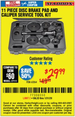Harbor Freight Coupon 11 PIECE DISC BRAKE PAD AND CALIPER SERVICE TOOL KIT Lot No. 63264 Expired: 1/31/20 - $29.99