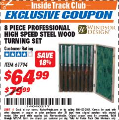 Harbor Freight ITC Coupon 8 PIECE PROFESSIONAL HIGH SPEED STEEL WOOD TURNING SET Lot No. 61794 Expired: 5/31/18 - $64.99
