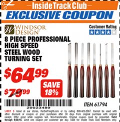 Harbor Freight ITC Coupon 8 PIECE PROFESSIONAL HIGH SPEED STEEL WOOD TURNING SET Lot No. 61794 Expired: 9/30/18 - $64.99