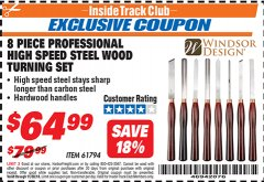 Harbor Freight ITC Coupon 8 PIECE PROFESSIONAL HIGH SPEED STEEL WOOD TURNING SET Lot No. 61794 Expired: 11/30/18 - $64.99
