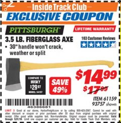 Harbor Freight ITC Coupon 3-1/2 LB. FIBERGLASS AXE Lot No. 93757/61159 Dates Valid: 5/3/19 - 5/31/19 - $14.99