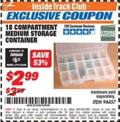 Harbor Freight ITC Coupon 18 COMPARTMENT MEDIUM STORAGE CONTAINER Lot No. 94457 Dates Valid: 12/31/69 - 5/31/19 - $2.99