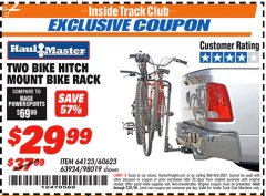 Harbor Freight ITC Coupon TWO BIKE HITCH MOUNT BIKE RACK Lot No. 60623/98019/64123/63924 Expired: 7/31/18 - $29.99