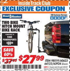 Harbor Freight ITC Coupon TWO BIKE HITCH MOUNT BIKE RACK Lot No. 60623/98019/64123/63924 Expired: 4/30/20 - $27.99