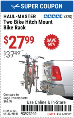 Harbor Freight Coupon TWO BIKE HITCH MOUNT BIKE RACK Lot No. 60623/98019/64123/63924 EXPIRES: 6/30/20 - $27.99