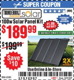 Harbor Freight Coupon 100 WATT SOLAR PANEL KIT Lot No. 64335/63585 Valid Thru: 12/11/20 - $189.99