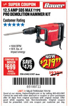 Harbor Freight Coupon BAUER 12.5 AMP SDS MAX TYPE PRO HAMMER KIT Lot No. 63440/63437 Expired: 7/31/18 - $219.99