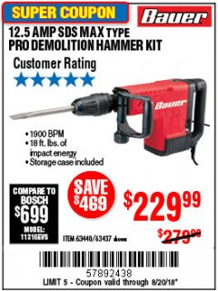 Harbor Freight Coupon BAUER 12.5 AMP SDS MAX TYPE PRO HAMMER KIT Lot No. 63440/63437 Expired: 8/20/18 - $229.99