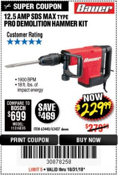 Harbor Freight Coupon BAUER 12.5 AMP SDS MAX TYPE PRO HAMMER KIT Lot No. 63440/63437 Expired: 10/31/18 - $229.99