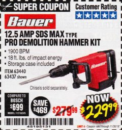 Harbor Freight Coupon BAUER 12.5 AMP SDS MAX TYPE PRO HAMMER KIT Lot No. 63440/63437 Expired: 11/30/18 - $229.99